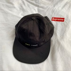 NWT Supreme Embossed Logo Six Panel Black Hat